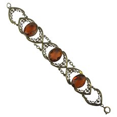 Art Deco Era Bracelet Stamped Brass w/ Amber Glass Stones