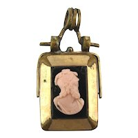 Old Old Old Swivel Locket Fob w/ Cameo Man w/ Broken Nose