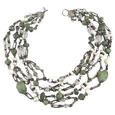 STEPHEN DWECK Sterling Silver 4 Strand Stone and Pearl Necklace