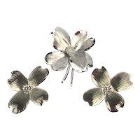 Vintage HSB Harry S. Bick Sterling Silver Dogwood Pin Earrings Set