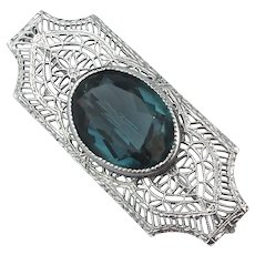 Art Deco Chrome Filigree Pin Brooch w/ Aqua Glass Stone