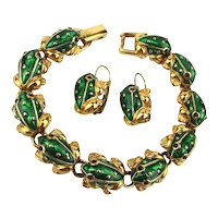 Vintage TRIFARI Enamel Rhinestone FROG Set Bracelet Earrings w/ Bonus