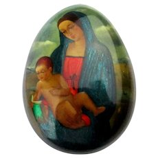 Vintage Russian Hand-Painted Lacquer Egg Box Madonna w/ Child