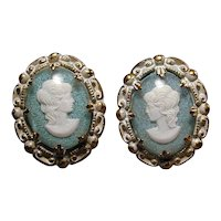 Old Pressed Brass German Earrings - Cameo Girl Under Celluloid