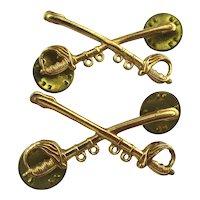Vintage WWII U.S. Army Cavalry Crossed Swords Badges Pins