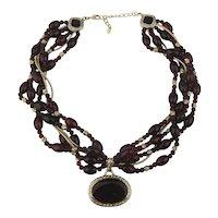 Monet Ravishing Red Glass Bead Necklace