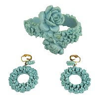 Deco Era Molded Celluloid Bracelet Earrings Set Very Floral