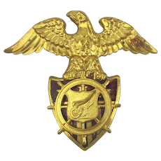 WWII Brass Eagle U.S. Army Transport Hat Badge Medallion