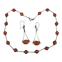 Sterling Silver Baltic Amber Drops Necklace w/ Earrings Set