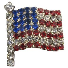 Vintage Small American Flag Pin Red White n Blue Rhinestones