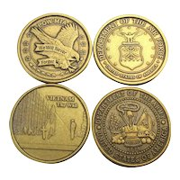 Set of 4 Military Large Gilt Coins Veterans of Foreign Wars