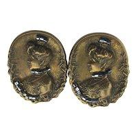 Victorian Revival Clip Earrings Bronzed Lady w/ Beads