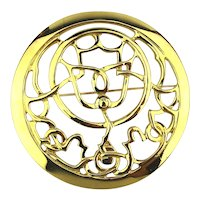 Big Mary McFadden Round Gilt Pin w/ Open Design
