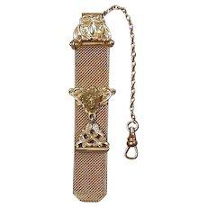 Antique Victorian Gold-Plated Watch Fob w/ Art Nouveau Face