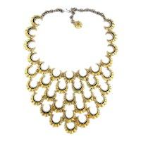 Great Vintage Bib Necklace of Many Sunny Moons