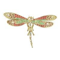 Kirks Folly Gilt Enamel AB Crystal Rhinestone Dragonfly Pin Brooch