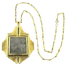 Bold LUKE RAZZA Lion Leo Zodiac Pendant Necklace c1970