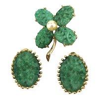 Jomaz Pin Earrings Set w/ Czech Glass - Lucky Shamrock