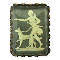 Unique Art Deco Jasperware Glass Pin Archery Lady w/ Dog Goddess of the Hunt