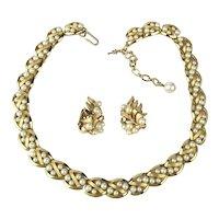 Trifari Necklace Earrings Set Goldtone w/ Faux Pearls