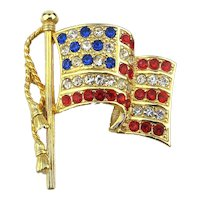 Signed NAPIER American Flag Pin Red White n Blue Rhinestones