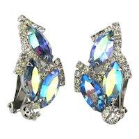 Weiss Aurora Borealis Rhinestone Clip Earrings