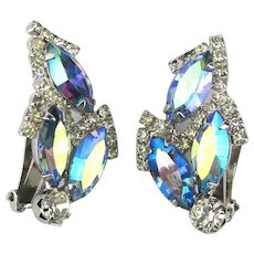 Weiss Aurora Borealis Rhinestone Clip Earrings