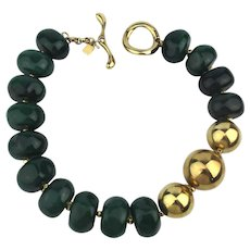 Bold Robert Lee Morris Green and Gold Bead Necklace RLM