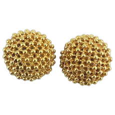 Vintage Ciner - Mariko Clip Earrings Gilded Bumpy Domes