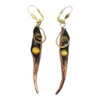 Modernist Dangle Earrings Glass Peas in a Copper Pod