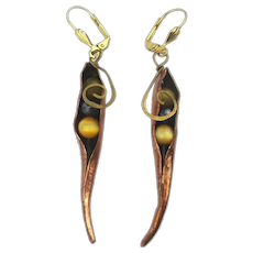 Modernist Dangle Earrings Glass Peas in a Copper Pod