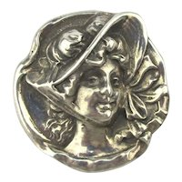 Heavy Sterling Silver Pin Pendant Victorian Bonnet Girl