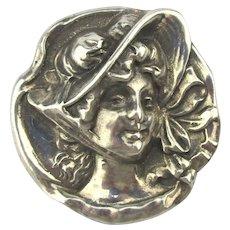 Heavy Sterling Silver Pin Pendant Victorian Bonnet Girl