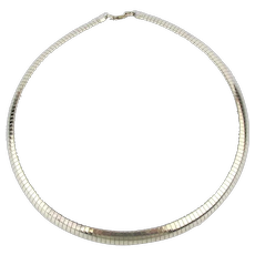 Vintage Italian Sterling Silver Omega Necklace 8mm