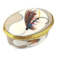 Vintage FARLOW London Bone China Fly Fishing Trinket Box