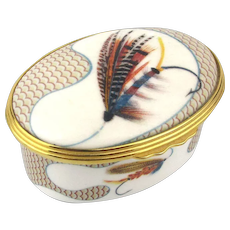 Vintage FARLOW London Bone China Fly Fishing Trinket Box