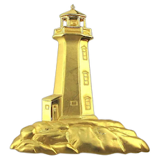 Vintage JJ Jonette Jewelry LIGHTHOUSE Pin Brooch