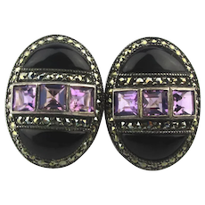 Judith Jack Sterling Silver Marcasite Amethyst Earrings