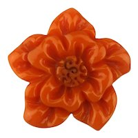 1930s Gorgeously Carved Bakelite Flower Pin
