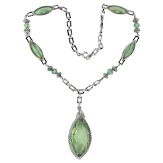 Gorgeous Art Deco Necklace Long Beveled Minty Glass Stones Rhodium Setting