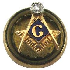 Antique 14K Gold Victorian Masonic Lapel Pin