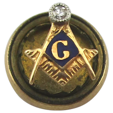 Antique 14K Gold Victorian Masonic Lapel Pin