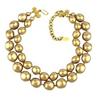 Vintage CAROLEE Necklace Double Golden Chunky Pearls