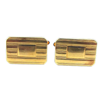 Vintage KREMENTZ Gold-Filled Ribbed Cufflinks