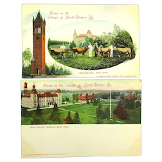 c1905 Chicago & North-Western Railroad Postcard Views Ames College Cows