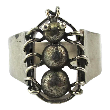 Unique Hammered Sterling Silver Ring Spider Tarantula Size 12 Unisex