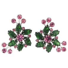 WEISS Bursting Crystal Rhinestone Clip Earrings