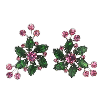 WEISS Bursting Crystal Rhinestone Clip Earrings