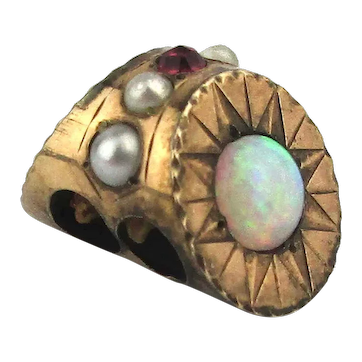 Mini Antique Victorian Gold-Filled Slide Charm Opals Pearls Ruby