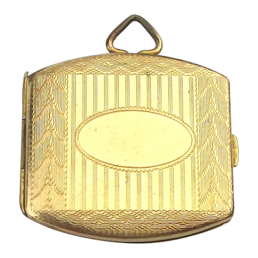 Victorian Gold-Filled Etched Locket Case Pendant - Room for Two